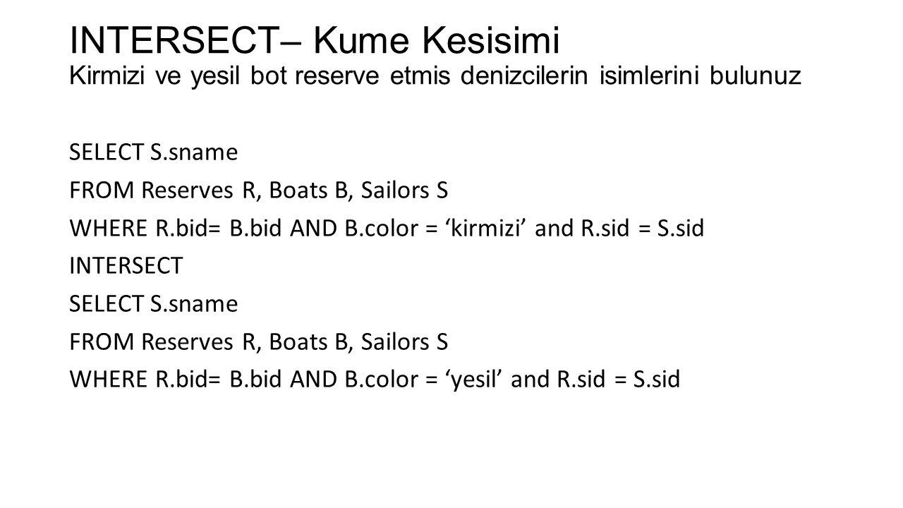 INTERSECT– Kume Kesisimi Kirmizi ve yesil bot reserve etmis denizcilerin isimlerini bulunuz