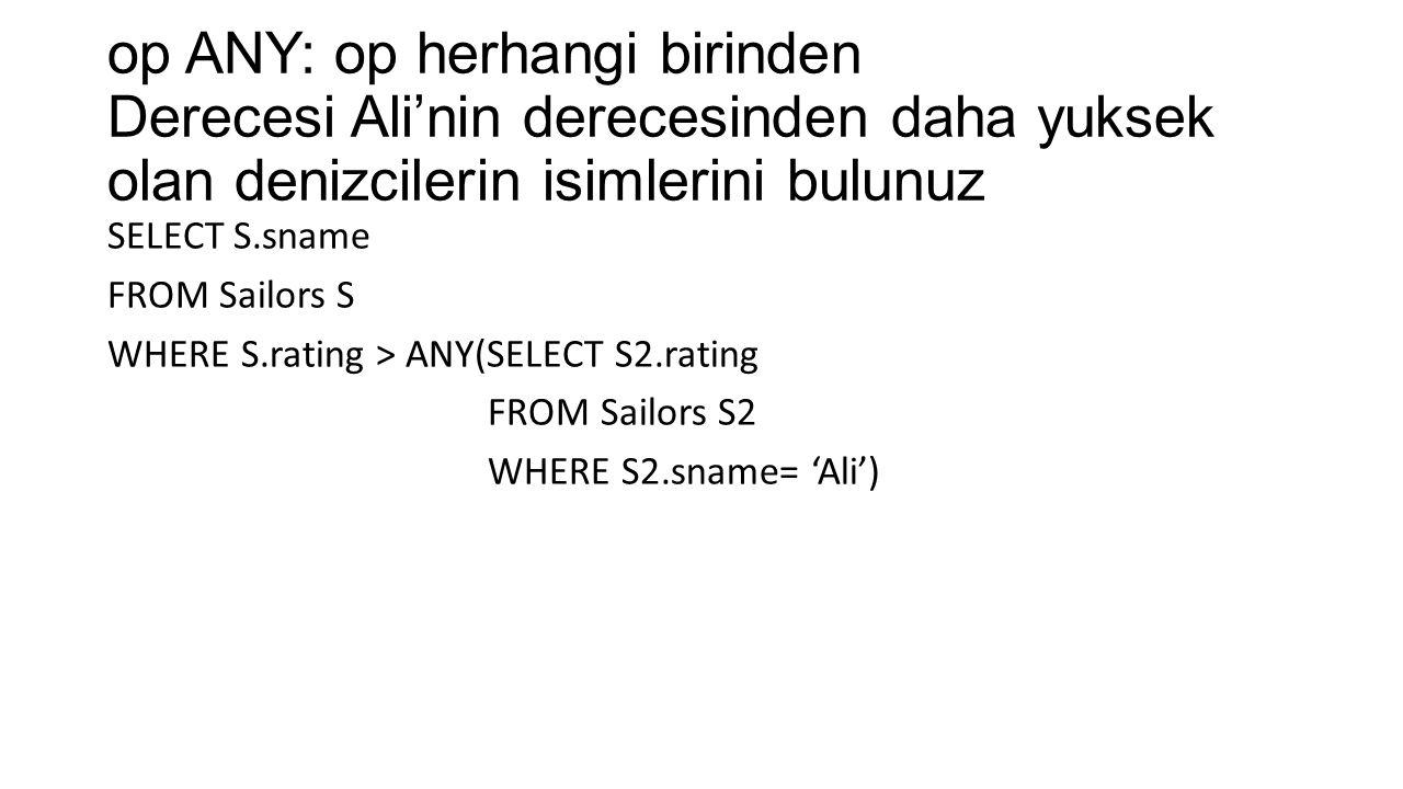 op ANY: op herhangi birinden Derecesi Ali'nin derecesinden daha yuksek olan denizcilerin isimlerini bulunuz