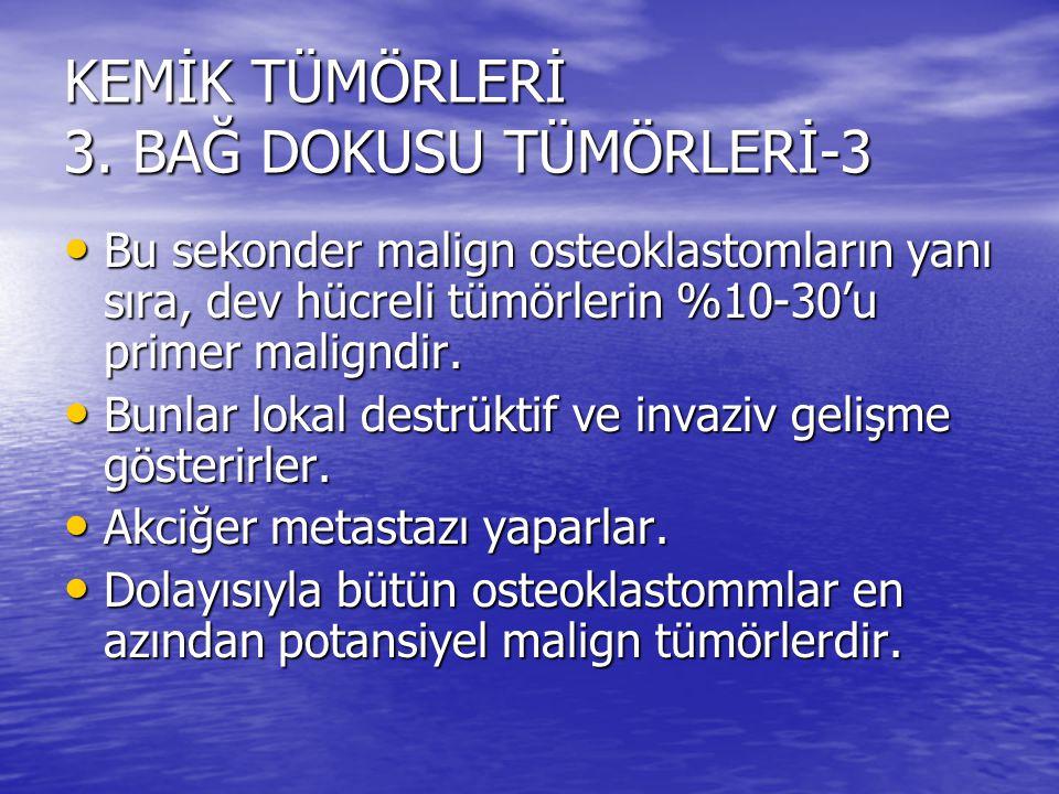 KEMİK TÜMÖRLERİ 3. BAĞ DOKUSU TÜMÖRLERİ-3