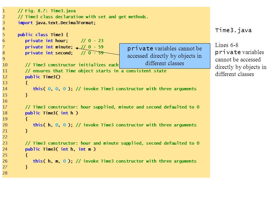 1 // Fig. 8.7: Time3.java 2 // Time3 class declaration with set and get methods. 3 import java.text.DecimalFormat;