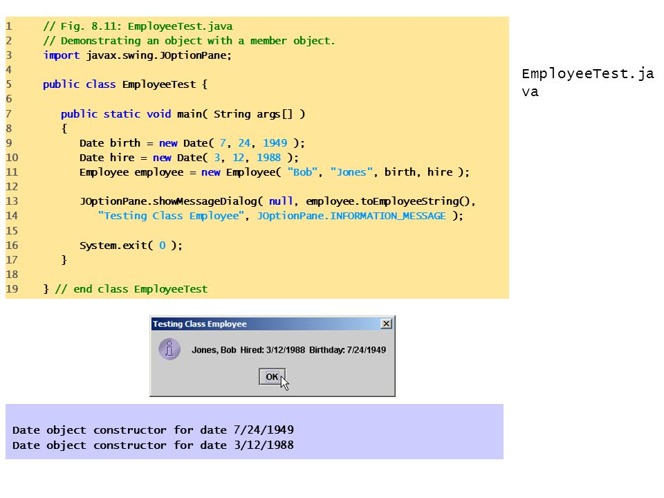 EmployeeTest.java Date object constructor for date 7/24/1949