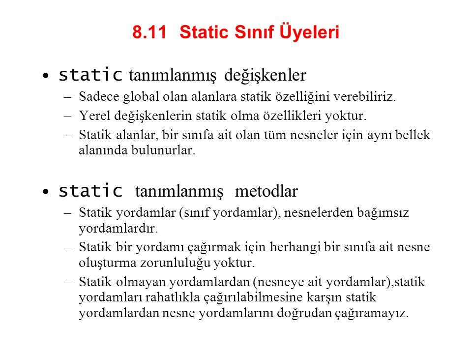 static tanımlanmış değişkenler