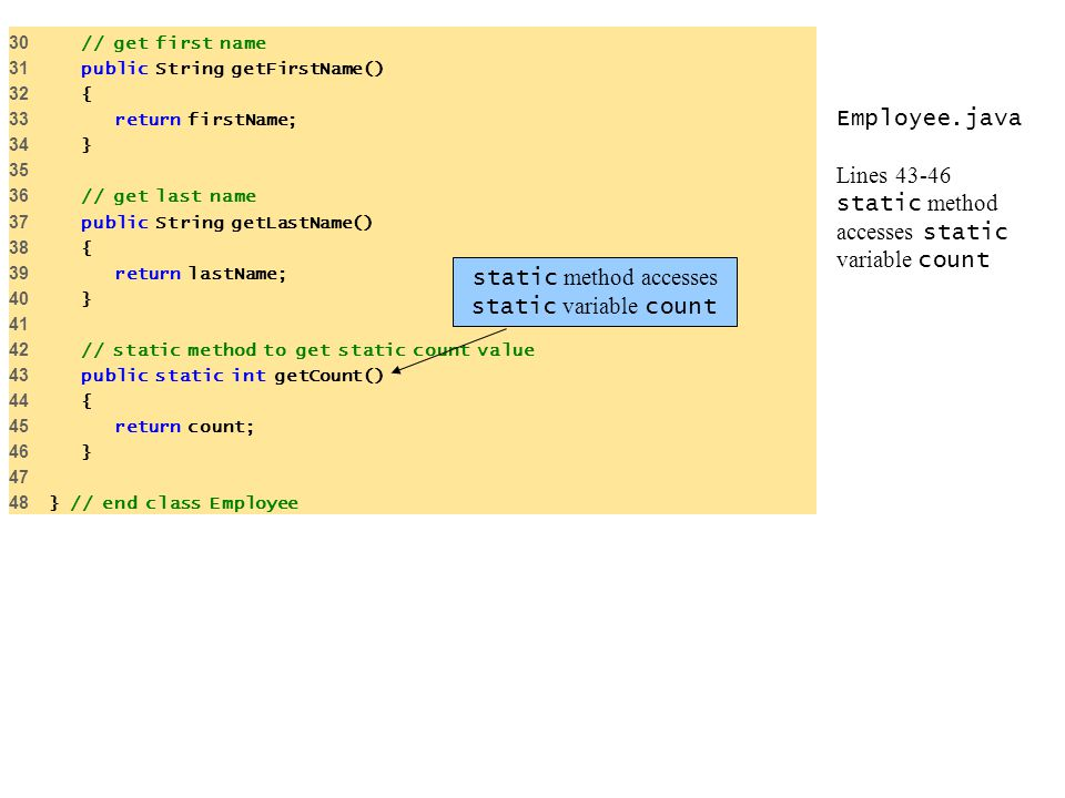 Employee.java Lines 43-46 static method accesses static variable count