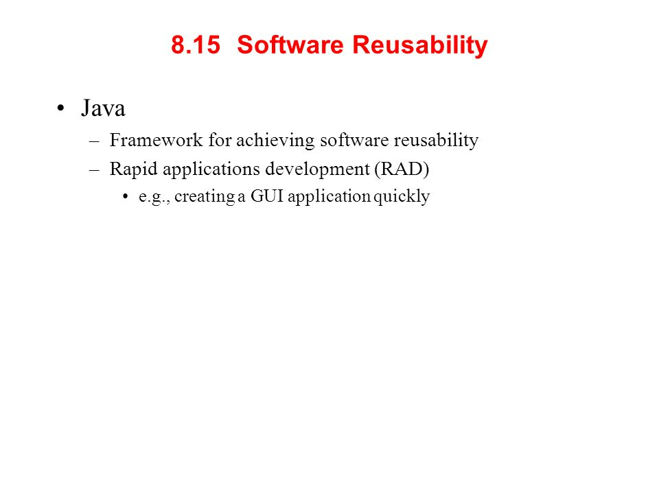 8.15 Software Reusability Java