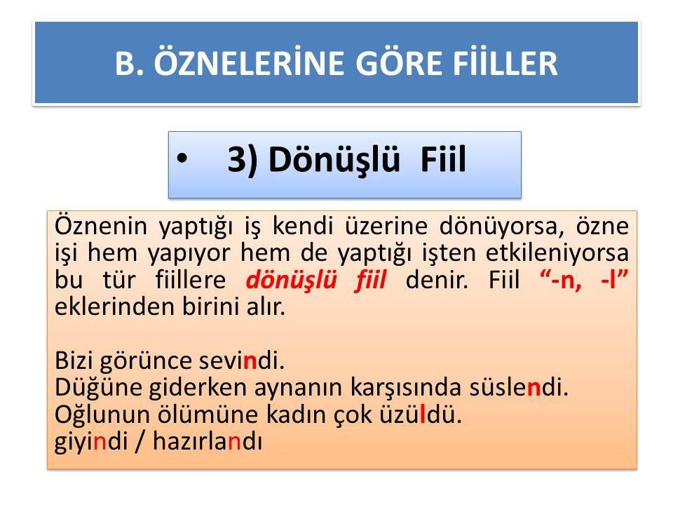 B. ÖZNELERİNE GÖRE FİİLLER