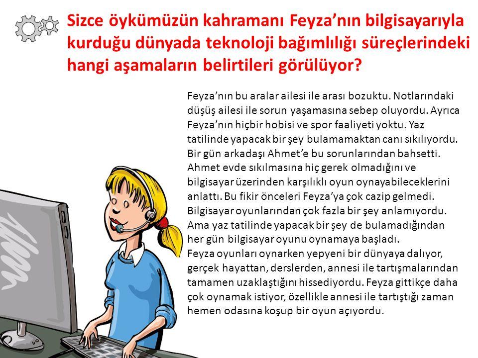 Sizce öykümüzün kahramanı Feyza'nın bilgisayarıyla kurduğu dünyada teknoloji bağımlılığı süreçlerindeki hangi aşamaların belirtileri görülüyor