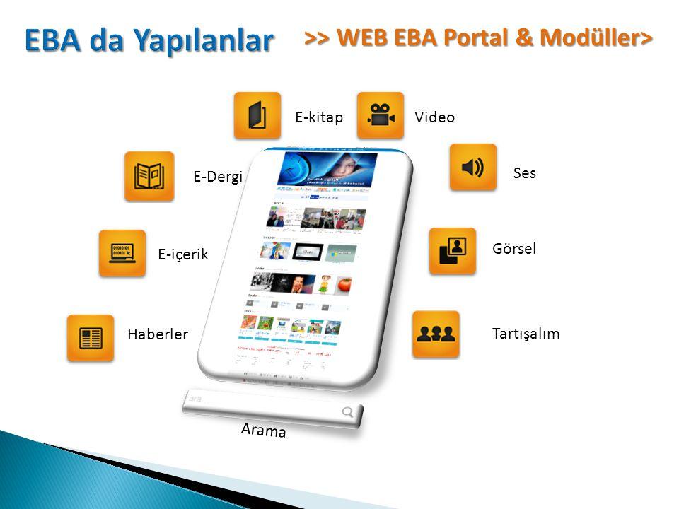 EBA da Yapılanlar >> WEB EBA Portal & Modüller> E-kitap Video