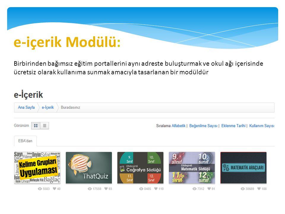 e-içerik Modülü: