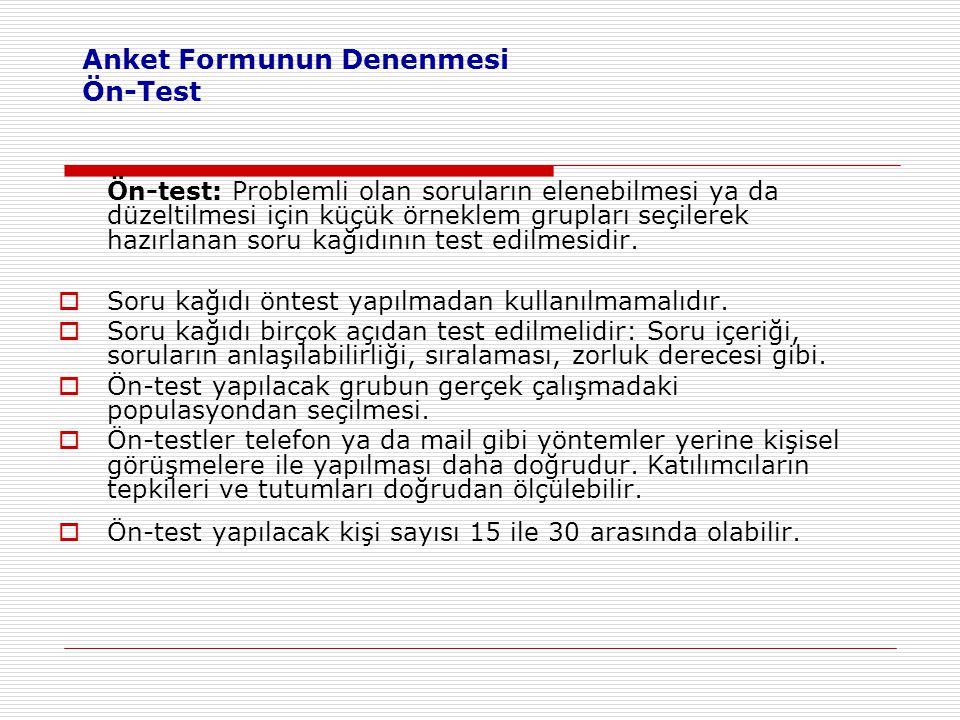 Anket Formunun Denenmesi Ön-Test