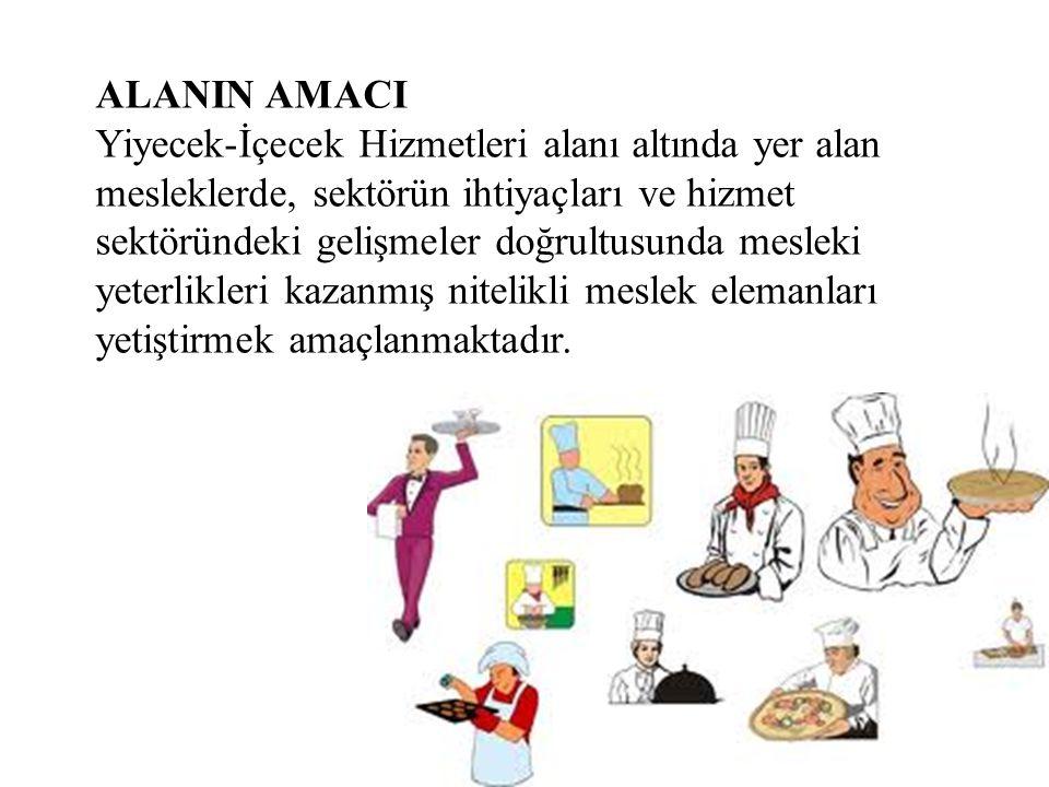 ALANIN AMACI Yiyecek-İçecek Hizmetleri alanı altında yer alan mesleklerde, sektörün ihtiyaçları ve hizmet sektöründeki gelişmeler doğrultusunda mesleki yeterlikleri kazanmış nitelikli meslek elemanları yetiştirmek amaçlanmaktadır.