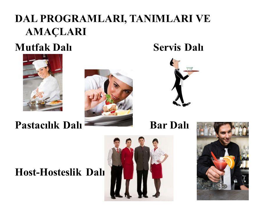 DAL PROGRAMLARI, TANIMLARI VE AMAÇLARI Mutfak Dalı Servis Dalı Pastacılık Dalı Bar Dalı Host-Hosteslik Dalı