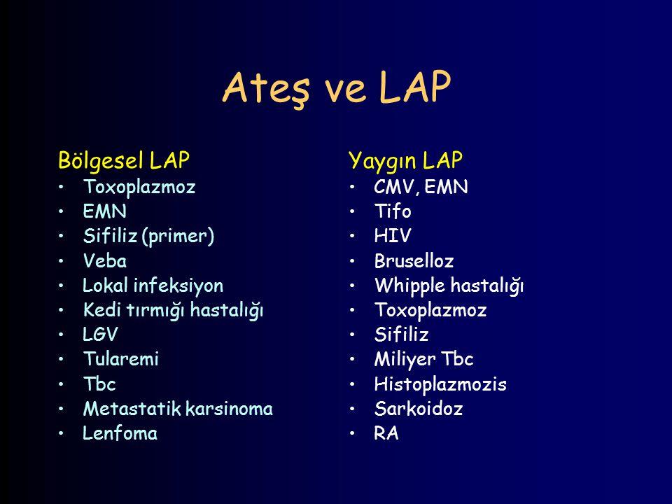 Ateş ve LAP Bölgesel LAP Yaygın LAP Toxoplazmoz EMN Sifiliz (primer)