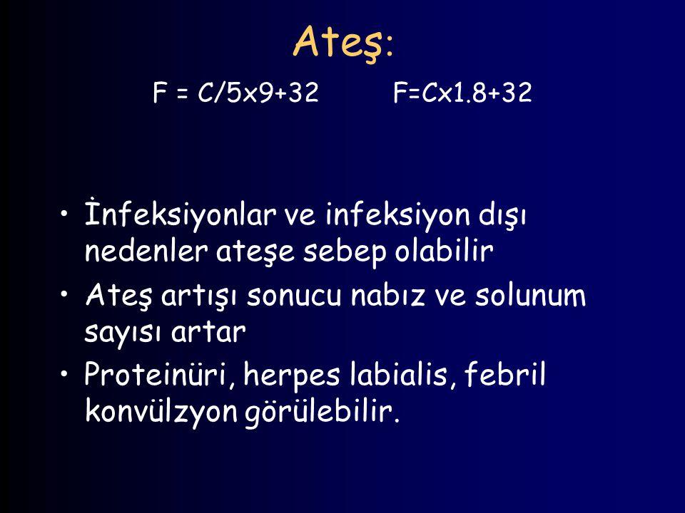 Ateş: F = C/5x9+32 F=Cx1.8+32 İnfeksiyonlar ve infeksiyon dışı nedenler ateşe sebep olabilir.