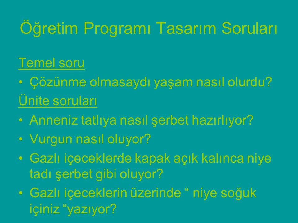 Öğretim Programı Tasarım Soruları