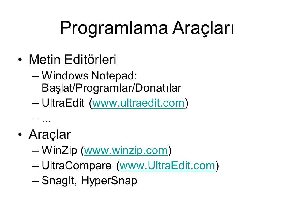 Programlama Araçları Metin Editörleri Araçlar