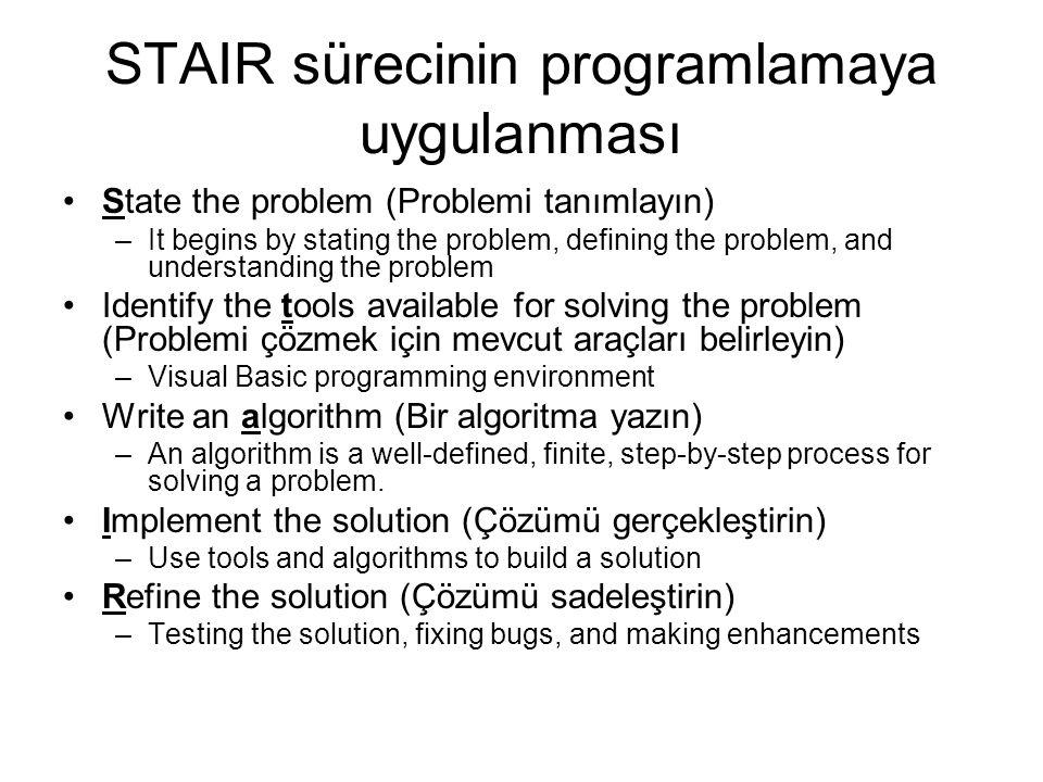 STAIR sürecinin programlamaya uygulanması