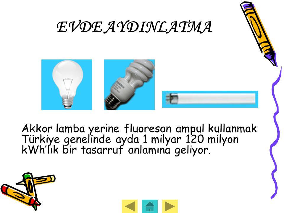 EVDE AYDINLATMA Akkor lamba yerine fluoresan ampul kullanmak Türkiye genelinde ayda 1 milyar 120 milyon kWh'lık bir tasarruf anlamına geliyor.