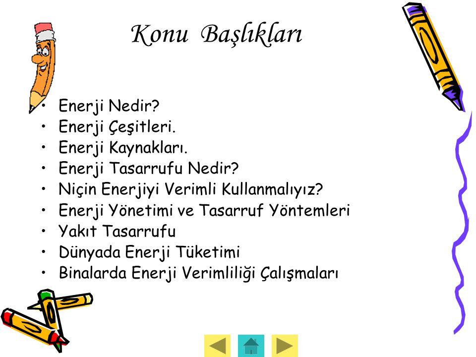Konu Başlıkları Enerji Nedir Enerji Çeşitleri. Enerji Kaynakları.