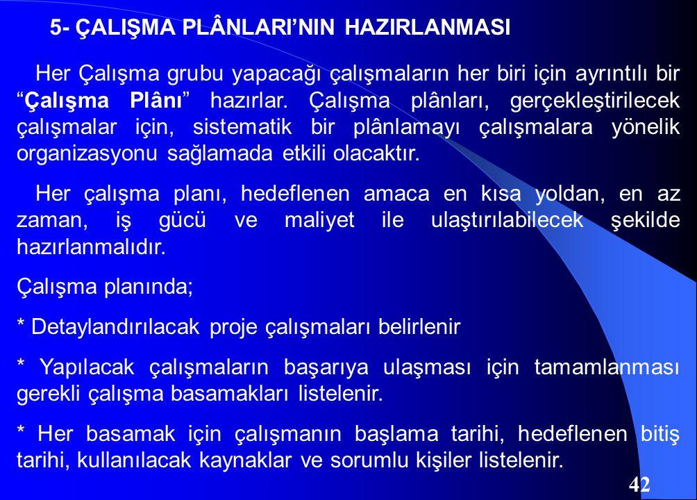 5- ÇALIŞMA PLÂNLARI'NIN HAZIRLANMASI