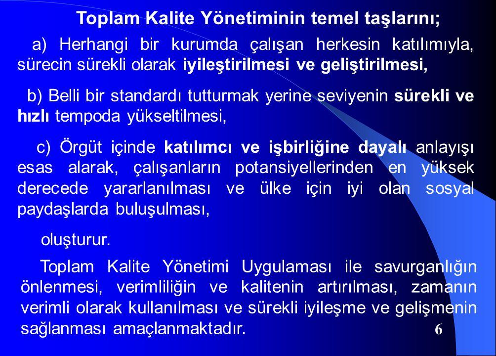 Toplam Kalite Yönetiminin temel taşlarını;