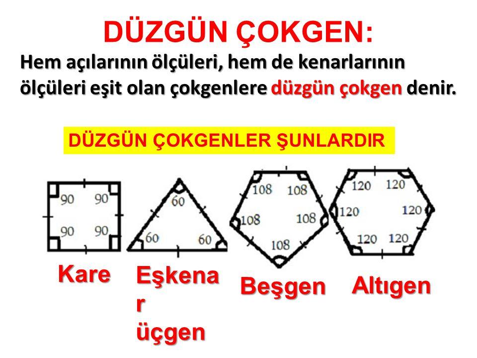 DÜZGÜN ÇOKGEN: Kare Eşkenar üçgen Beşgen Altıgen
