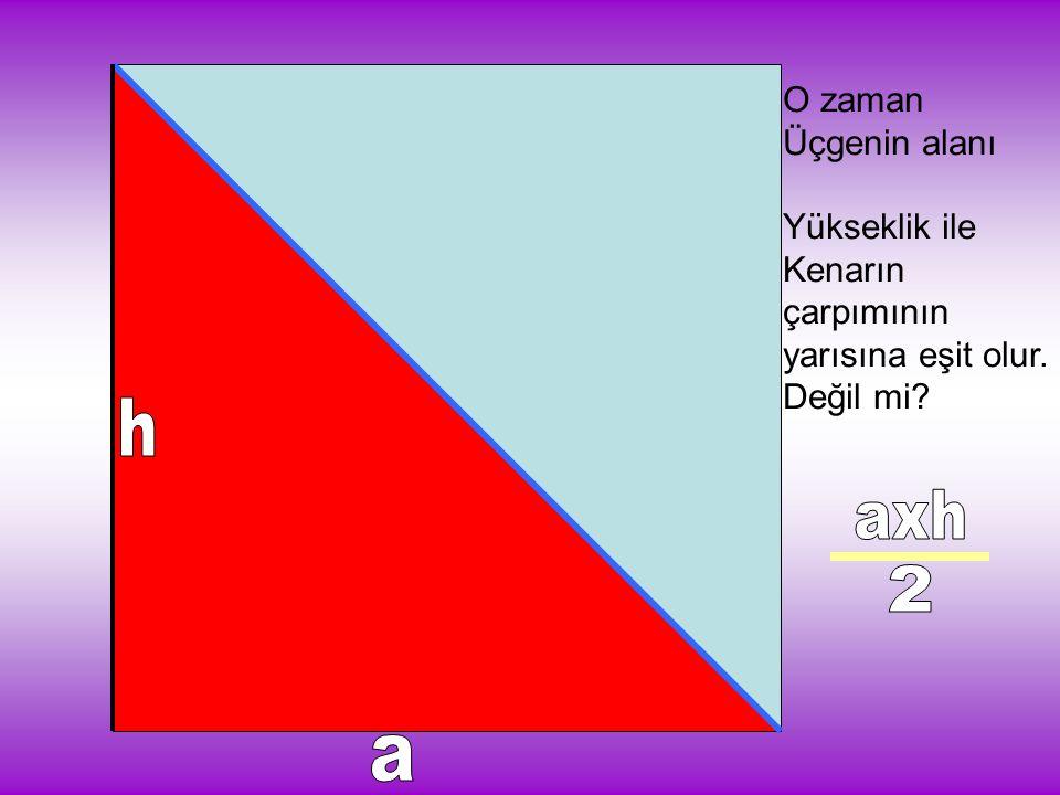 h axh 2 a O zaman Üçgenin alanı Yükseklik ile Kenarın çarpımının