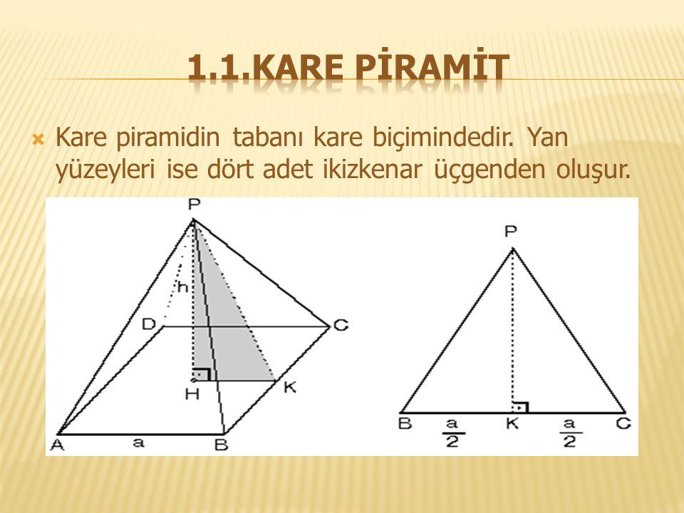 1.1.KARE PİRAMİT Kare piramidin tabanı kare biçimindedir.