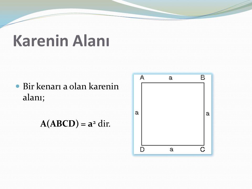 Karenin Alanı Bir kenarı a olan karenin alanı; A(ABCD) = a2 dir.