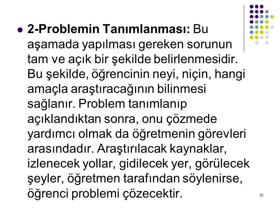 2-Problemin Tanımlanması: Bu aşamada yapılması gereken sorunun tam ve açık bir şekilde belirlenmesidir.