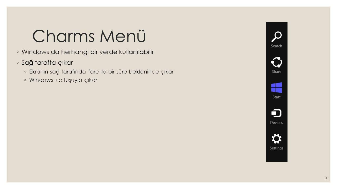 Charms Menü Windows da herhangi bir yerde kullanılabilir