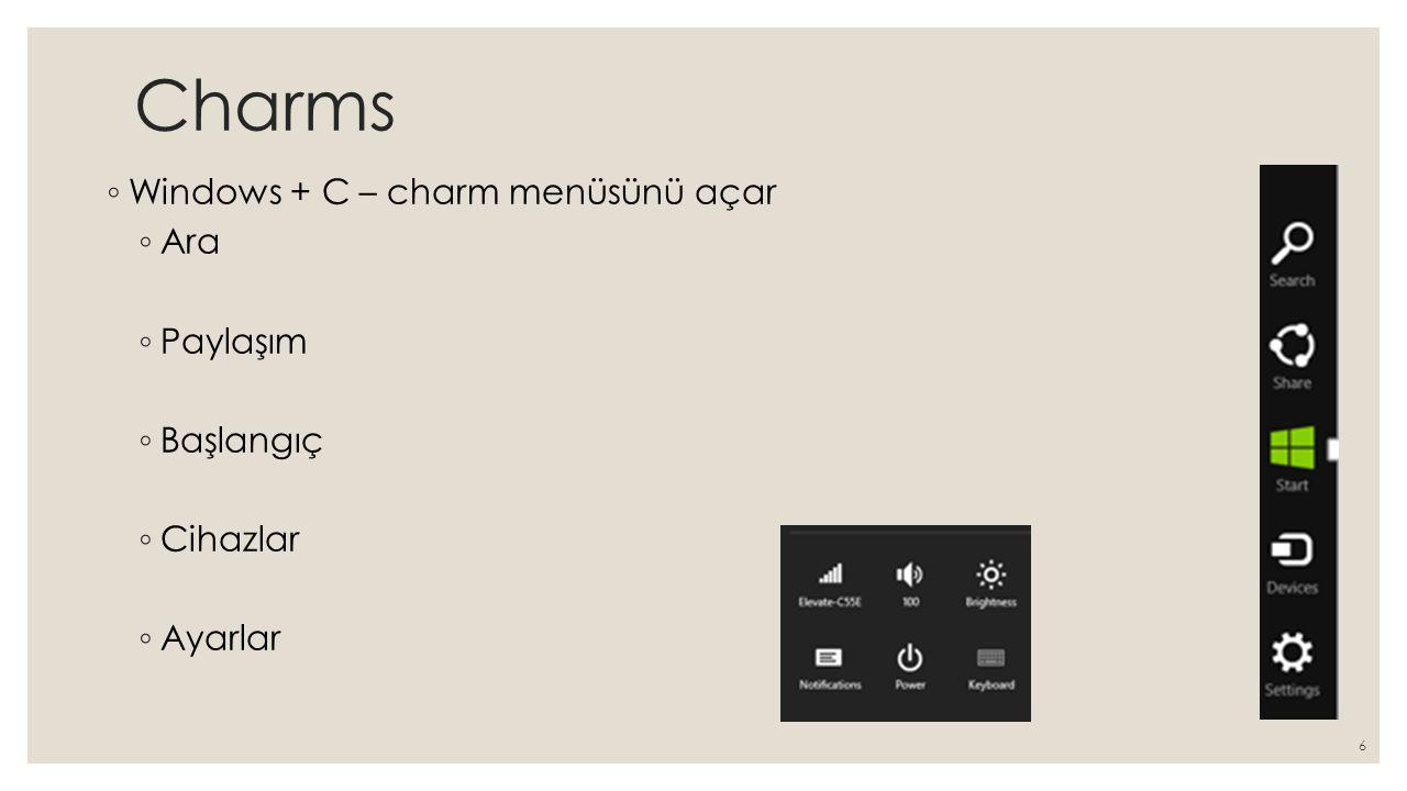 Charms Windows + C – charm menüsünü açar Ara Paylaşım Başlangıç