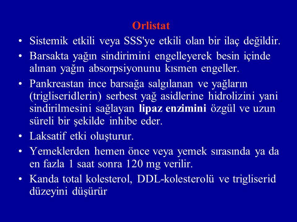 Orlistat Sistemik etkili veya SSS ye etkili olan bir ilaç değildir.