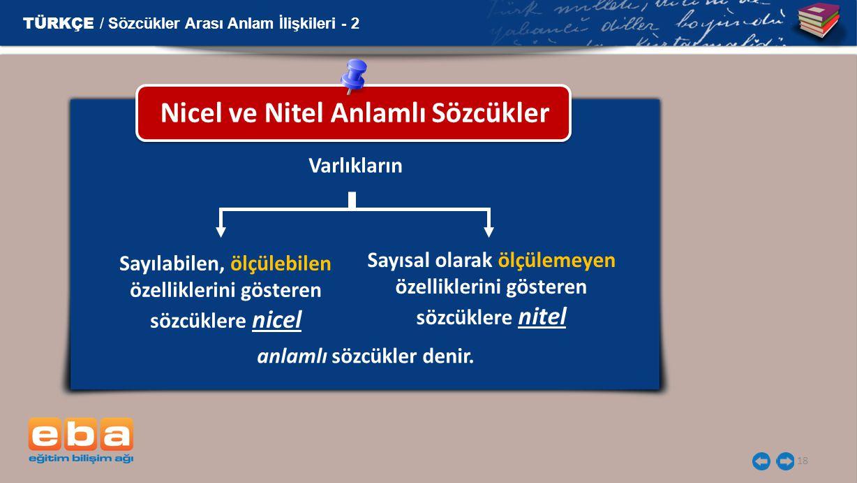 Nicel ve Nitel Anlamlı Sözcükler
