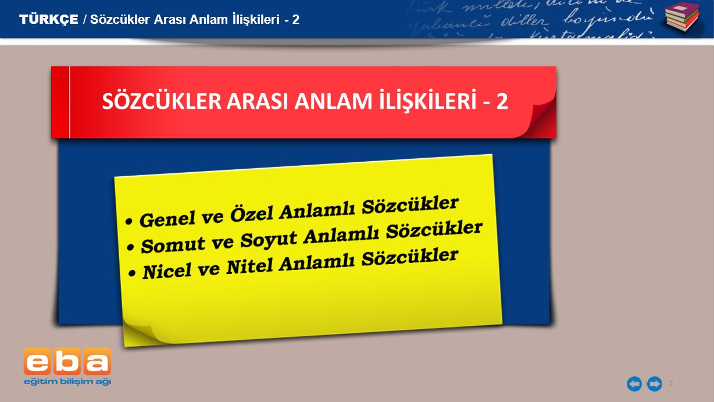 SÖZCÜKLER ARASI ANLAM İLİŞKİLERİ - 2