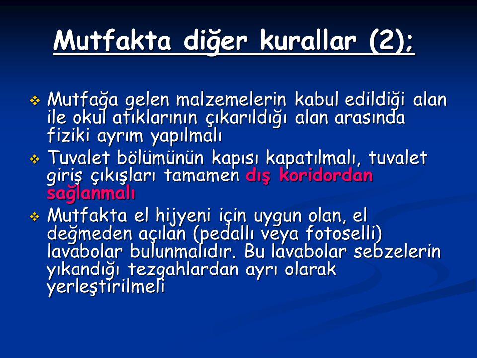 Mutfakta diğer kurallar (2);