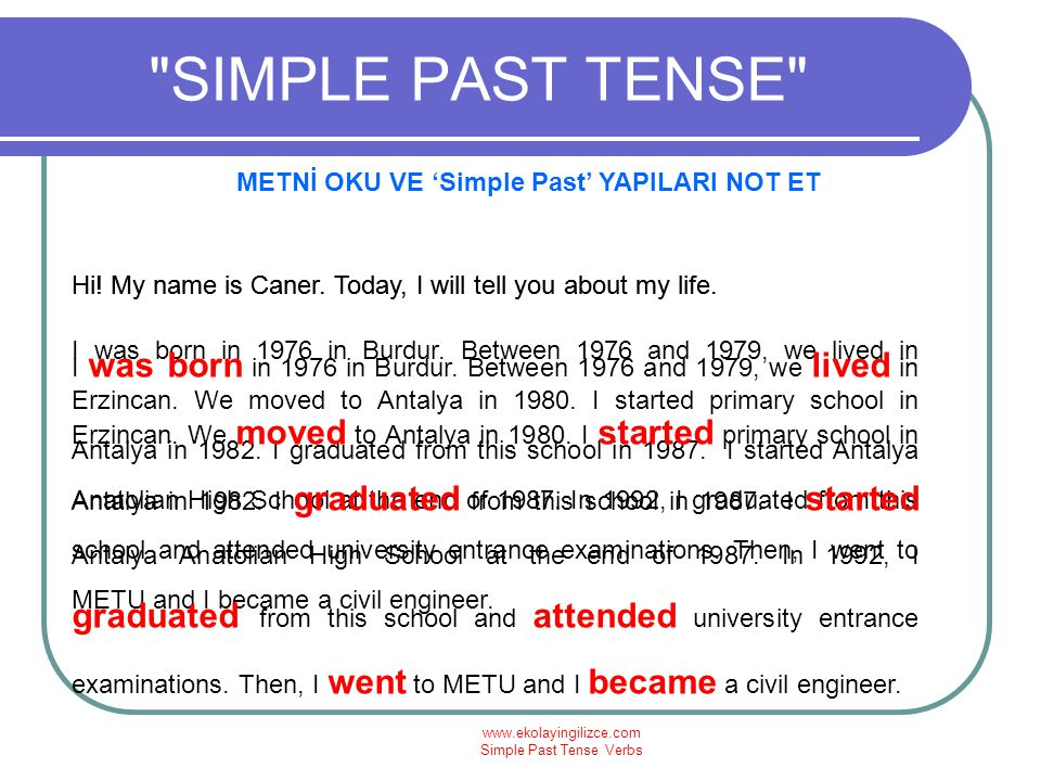 METNİ OKU VE 'Simple Past' YAPILARI NOT ET