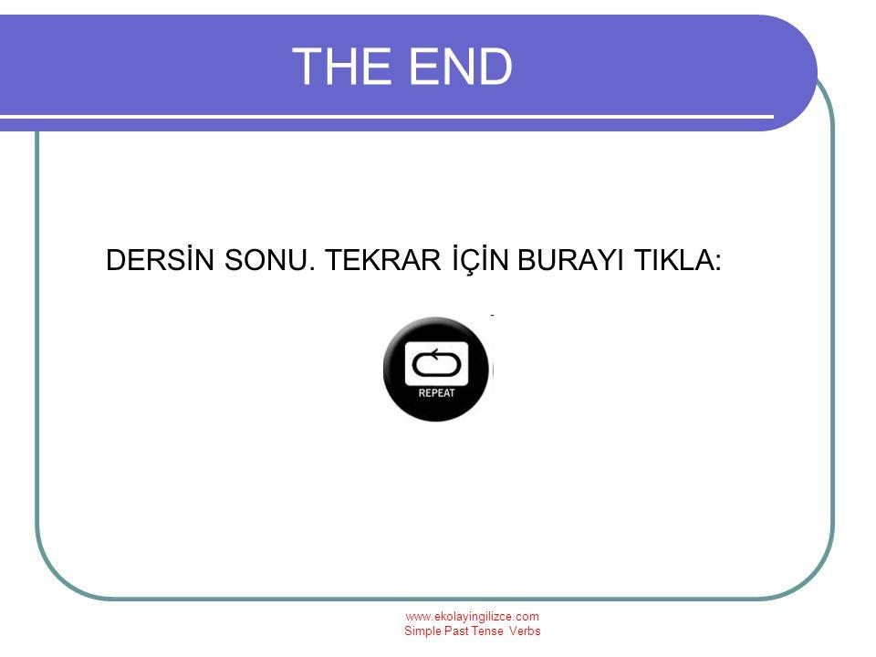 THE END DERSİN SONU. TEKRAR İÇİN BURAYI TIKLA: www.ekolayingilizce.com