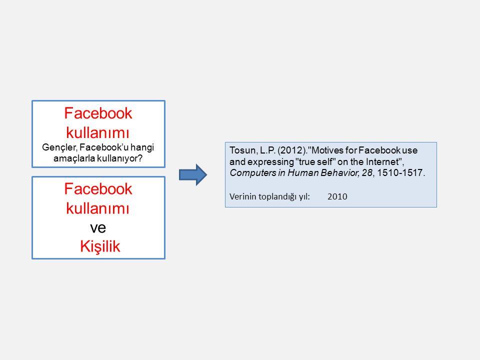 Gençler, Facebook'u hangi amaçlarla kullanıyor
