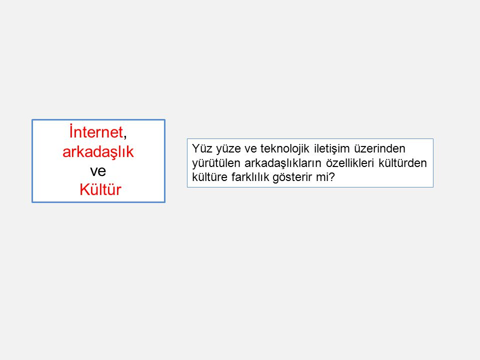 İnternet, arkadaşlık ve Kültür