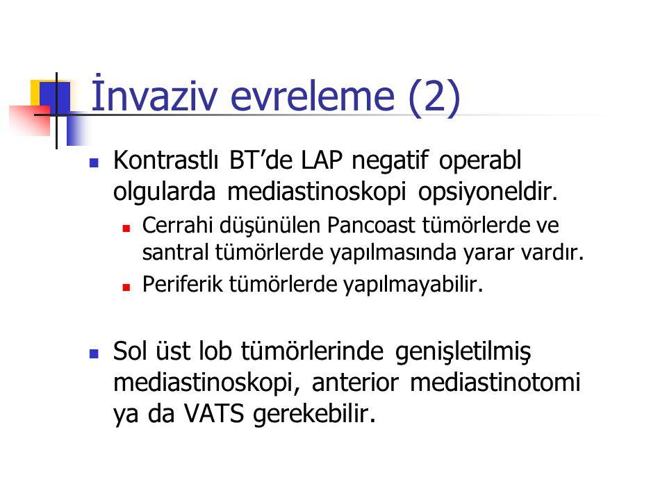 İnvaziv evreleme (2) Kontrastlı BT'de LAP negatif operabl olgularda mediastinoskopi opsiyoneldir.