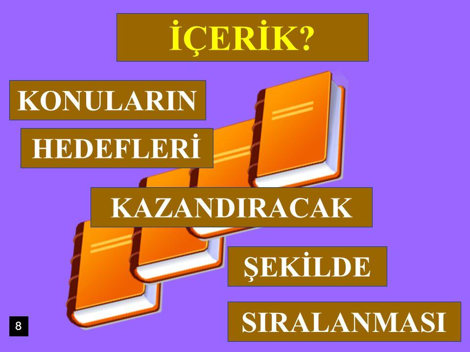 İÇERİK KONULARIN HEDEFLERİ KAZANDIRACAK ŞEKİLDE SIRALANMASI 8