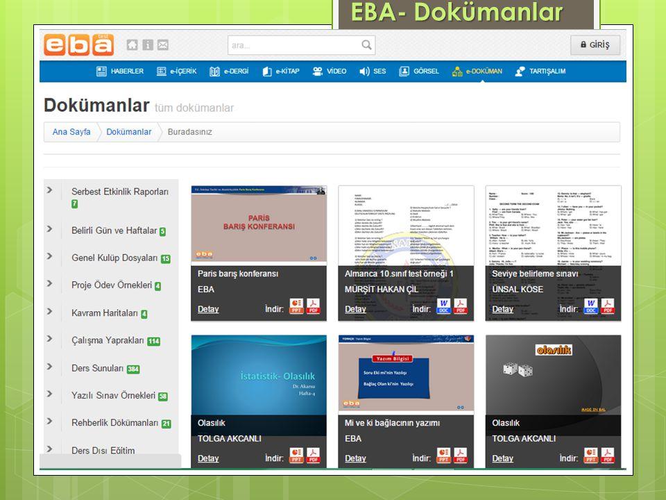 EBA- Dokümanlar www.eba.gov.tr