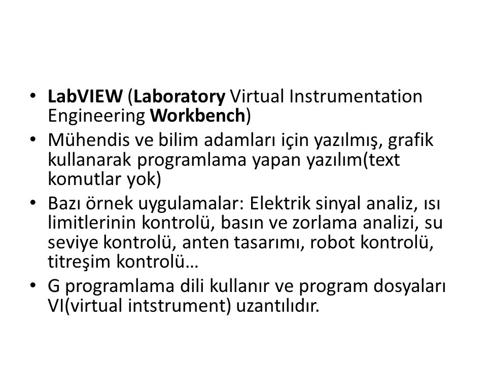 LabVIEW (Laboratory Virtual Instrumentation Engineering Workbench)