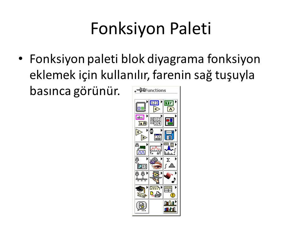Fonksiyon Paleti Fonksiyon paleti blok diyagrama fonksiyon eklemek için kullanılır, farenin sağ tuşuyla basınca görünür.