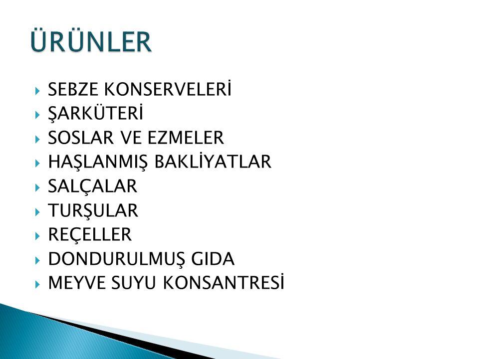 ÜRÜNLER SEBZE KONSERVELERİ ŞARKÜTERİ SOSLAR VE EZMELER