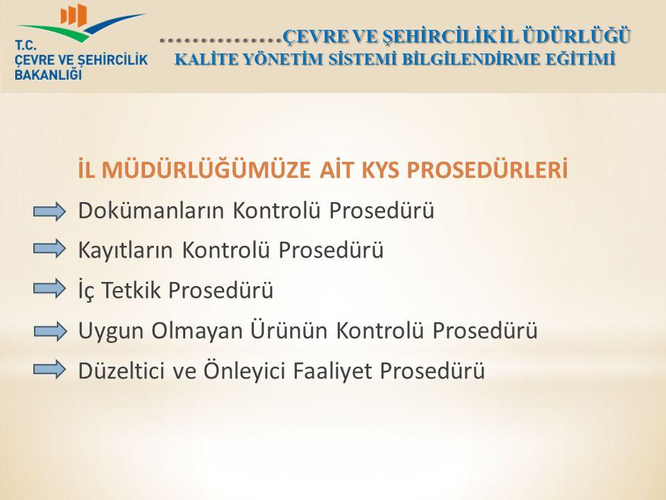 İL MÜDÜRLÜĞÜMÜZE AİT KYS PROSEDÜRLERİ Dokümanların Kontrolü Prosedürü Kayıtların Kontrolü Prosedürü İç Tetkik Prosedürü Uygun Olmayan Ürünün Kontrolü Prosedürü Düzeltici ve Önleyici Faaliyet Prosedürü