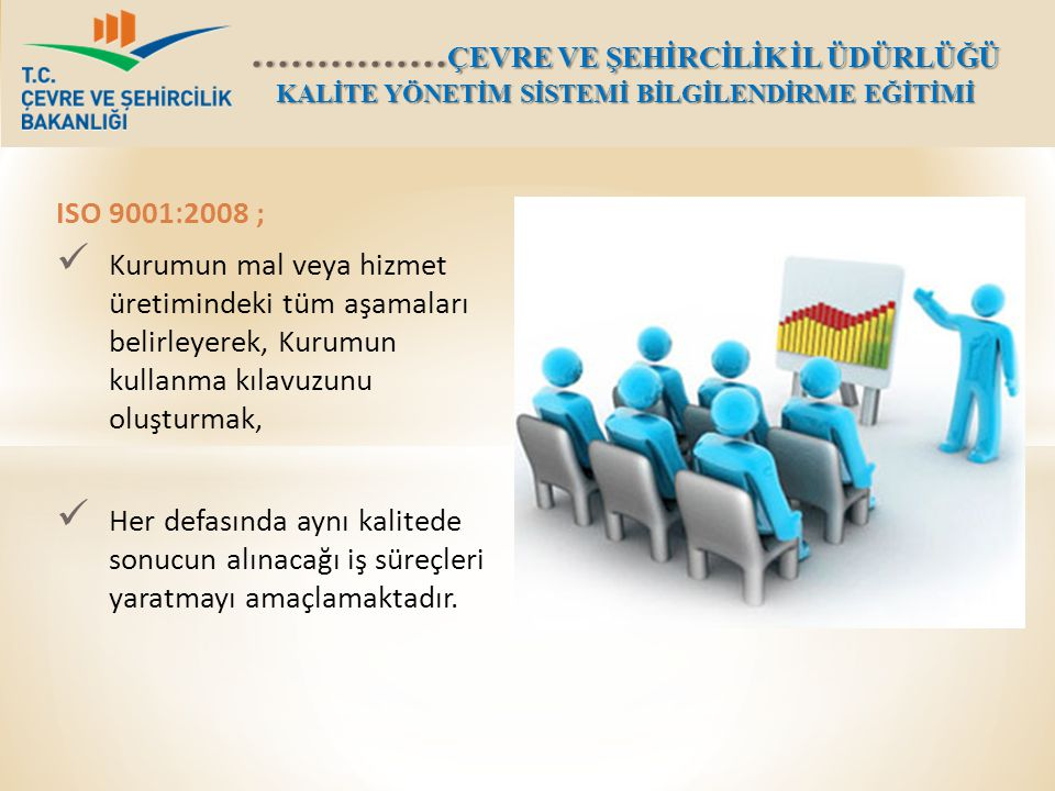 ISO 9001:2008 ; Kurumun mal veya hizmet üretimindeki tüm aşamaları belirleyerek, Kurumun kullanma kılavuzunu oluşturmak,
