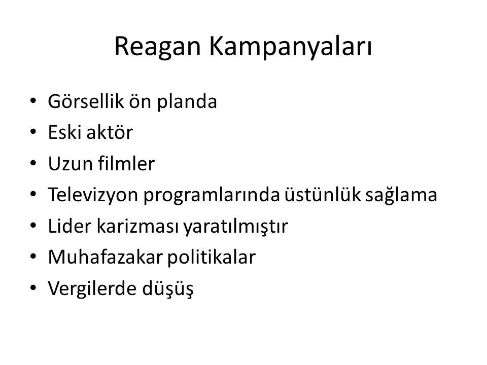 Reagan Kampanyaları Görsellik ön planda Eski aktör Uzun filmler