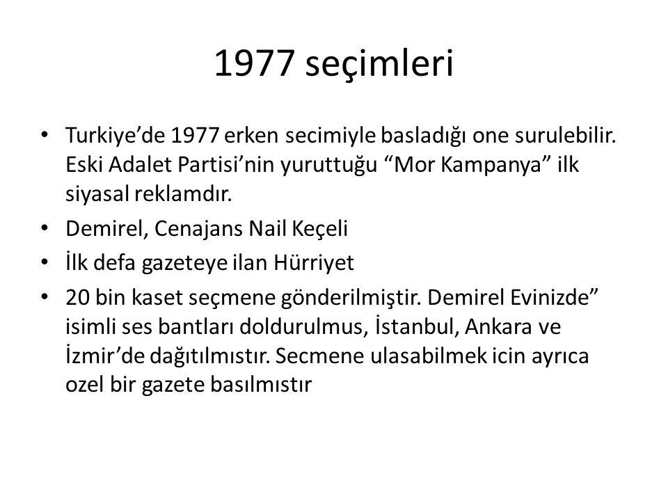 1977 seçimleri Turkiye'de 1977 erken secimiyle basladığı one surulebilir. Eski Adalet Partisi'nin yuruttuğu Mor Kampanya ilk siyasal reklamdır.