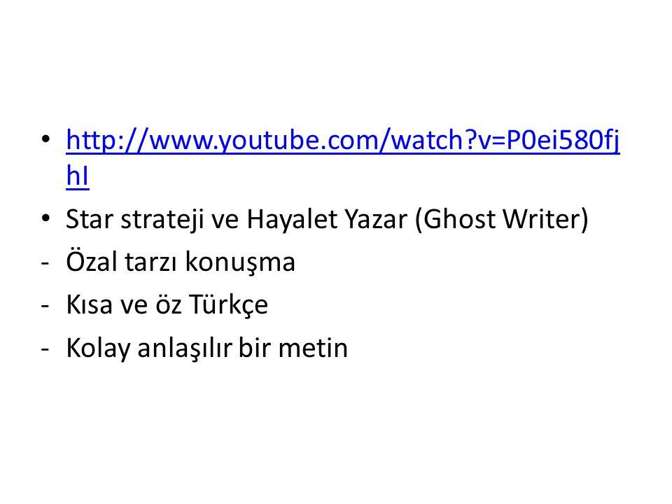 http://www.youtube.com/watch v=P0ei580fjhI Star strateji ve Hayalet Yazar (Ghost Writer) Özal tarzı konuşma.